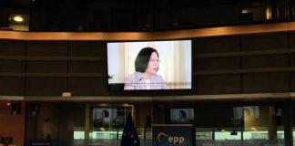 Discours de Tsai Ing-wen au Parlement européen(Source image: CNA)